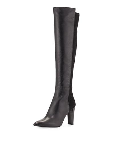 Stuart Weitzman Demivoom Leather Over-the-Knee Boot, Black