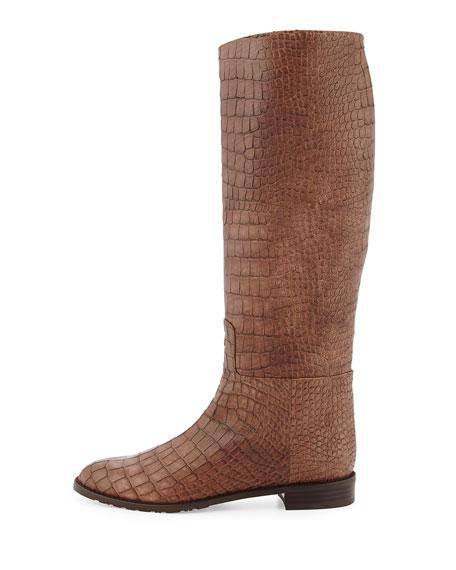Equine Croc-Embossed Knee Boot, Espresso