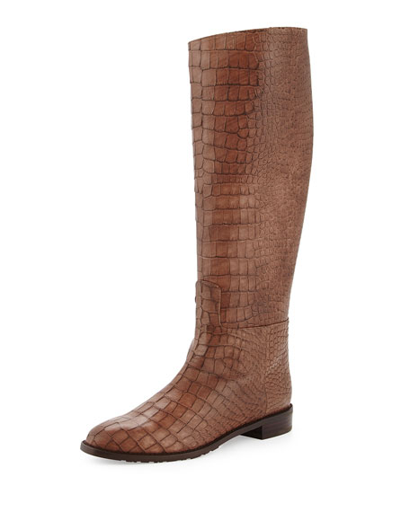 Equine Croc-Embossed Knee Boot, Espresso