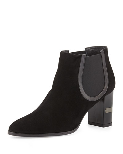Stuart Weitzman Nostress Suede Stretch Ankle Boot, Black