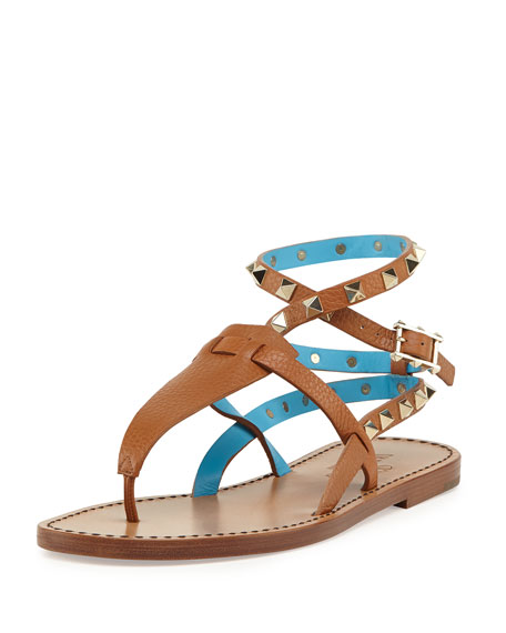 Valentino Rockstud Ankle-Wrap Thong Sandal, Cuir/Parrot