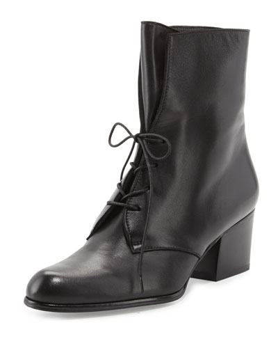 Stuart Weitzman Stepin Leather Lace-Up Bootie, Black