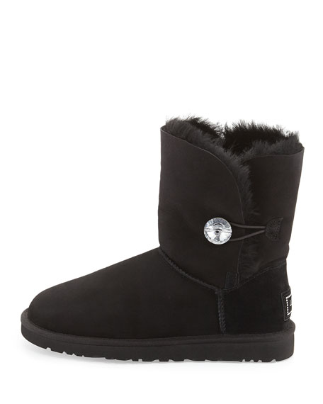 Bailey Crystal Button Short Shearling Boot, Black