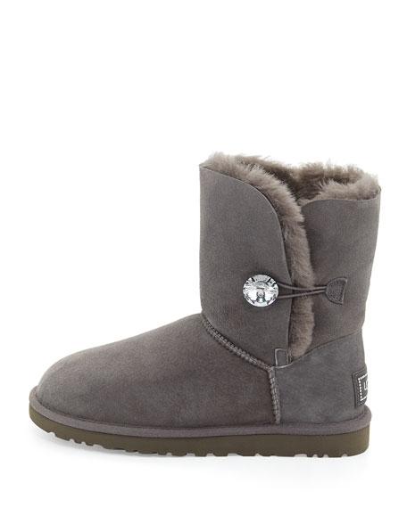 Bailey Crystal Button Short Boot, Gray
