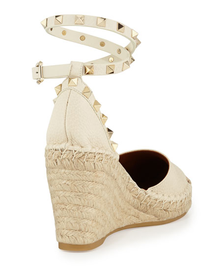 Rockstud Espadrille Wedge Sandal, Ivory/Light Cuir