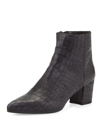 Stuart Weitzman Zepher Croc-Embossed Ankle Boot, Nero