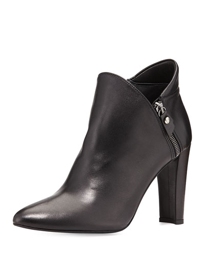 Stuart Weitzman Zipup Leather Ankle Bootie, Black