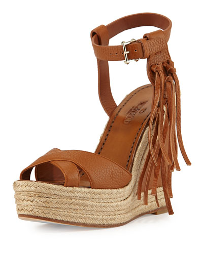 Leather Fringe Espadrille Wedge, Light Cuir