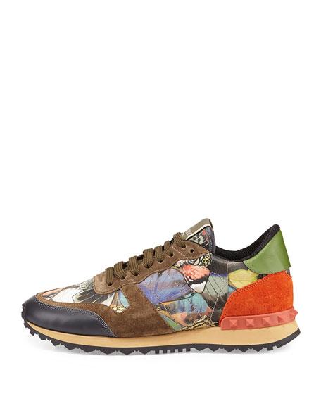 valentino garavani butterfly camouflage rockstud sneaker. Black Bedroom Furniture Sets. Home Design Ideas