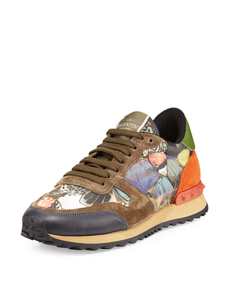 valentino garavani butterfly camouflage rockstud sneaker neiman marcus. Black Bedroom Furniture Sets. Home Design Ideas