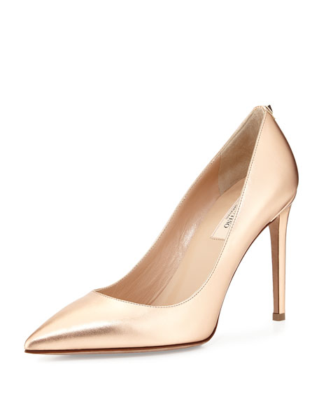 Valentino Metallic Leather Point-Toe Pump, Metal Rose