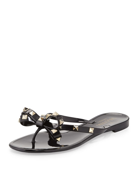 Valentino Rockstud PVC Thong Sandal, Nero