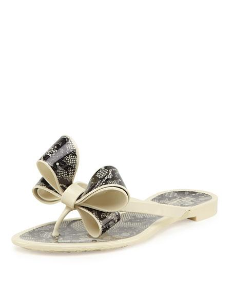 Valentino Lace-Print Bow Jelly Thong Sandal, Avorio/Nero