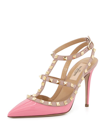 Valentino Rockstud Patent Slingback Pump, Ninphea/Poudre