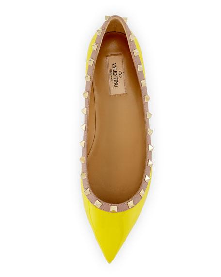 Rockstud Trim Patent Ballerina Flat, Yellow/Poudre