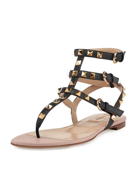 ValentinoRockstud Ankle-Wrap Thong Sandal, Nero