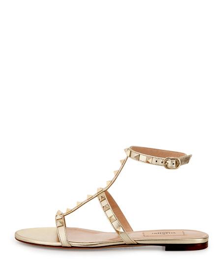 SandalPlatino Valentino Rockstud Ankle Flat Garavani Strap Yf67gby