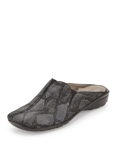 Hella Snake-Embossed Mule Slide, Black