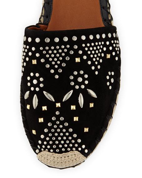 Stud-Embroidered Suede Espadrille, Black