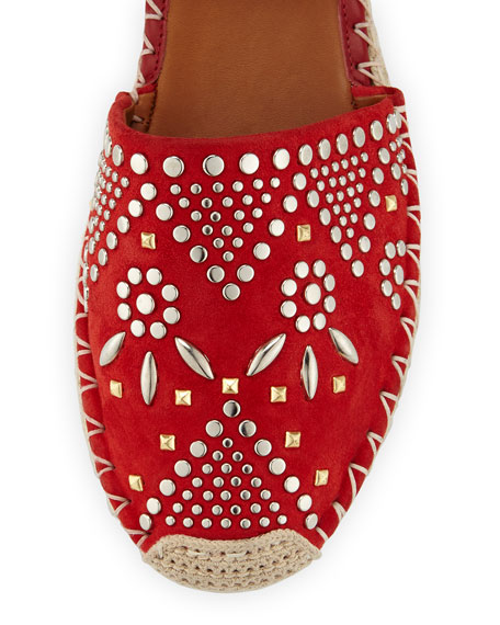 Stud-Embroidered Suede Espadrille, Red