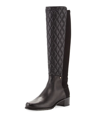 Stuart Weitzman Guard Quilted Leather Knee Boot, Black (Made to Order)
