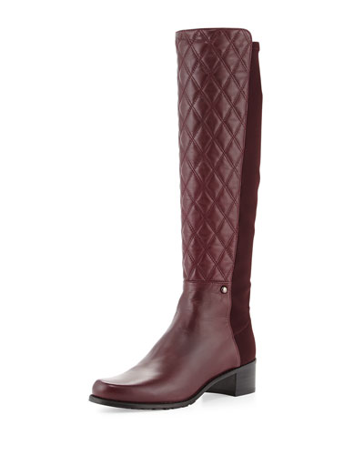 Stuart Weitzman Guard Quilted Leather Knee Boot, Bordeaux (Made to Order)