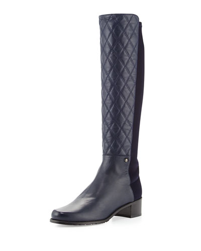 Stuart Weitzman Guard Quilted Leather Knee Boot, Navy (Made to Order)