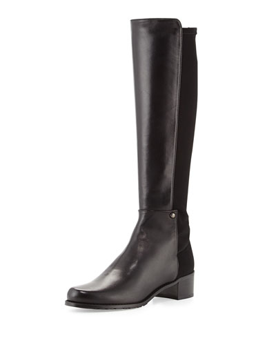 Stuart Weitzman Mezzamezza Napa Knee Boot, Black (Made to Order)