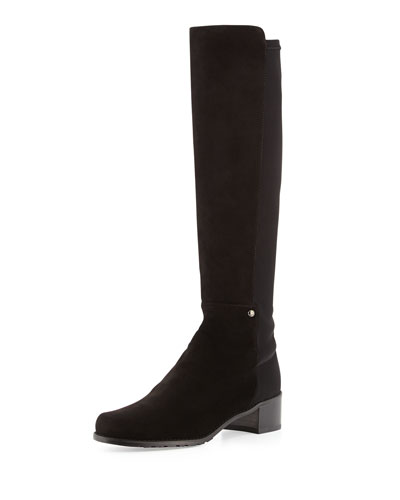 Stuart Weitzman Mezzamezza Suede Knee Boot, Black (Made to Order)