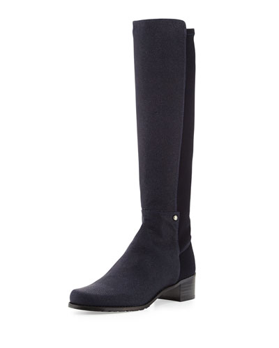 Stuart Weitzman Mezzamezza Pindot Knee Boot, Nice Blue (Made to Order)