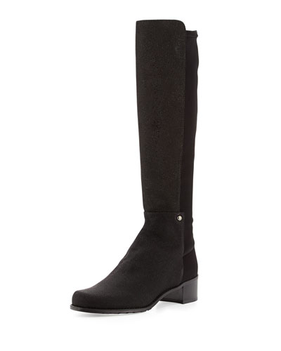 Stuart Weitzman Mezzamezza Pindot Knee Boot, Black (Made to Order)
