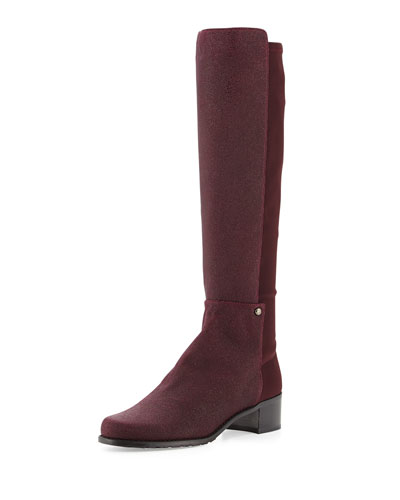 Stuart Weitzman Mezzamezza Pindot Knee Boot, Bordeaux (Made to Order)