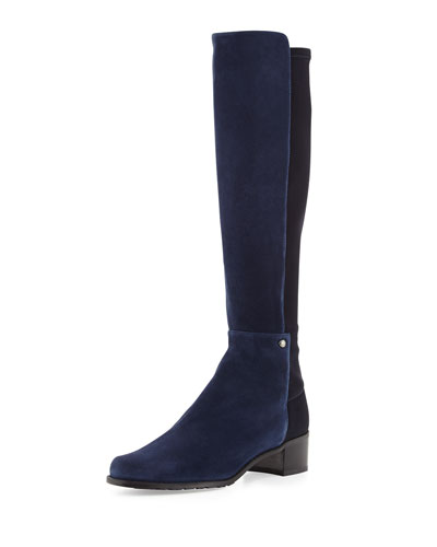 Stuart Weitzman Mezzamezza Suede Knee Boot, Nice Blue (Made to Order)