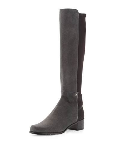 Stuart Weitzman Mezzamezza Suede Knee Boot, Smoke (Made to Order)
