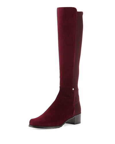 Stuart Weitzman Mezzamezza Suede Knee Boot, Bordeaux (Made to Order)