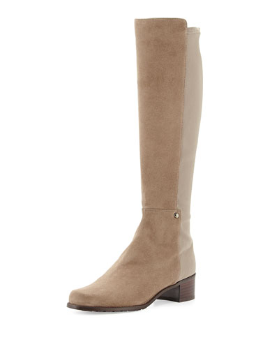 Stuart Weitzman Mezzamezza Suede Knee Boot, Praline (Made to Order)