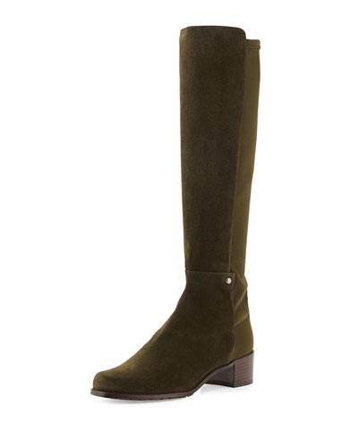 Stuart Weitzman Mezzamezza Suede Knee Boot, Olive (Made to Order)