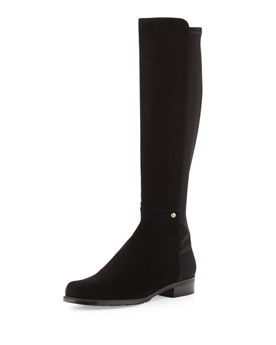Stuart Weitzman Coast Mezzamezza Suede Knee Boot, Black (Made to Order)