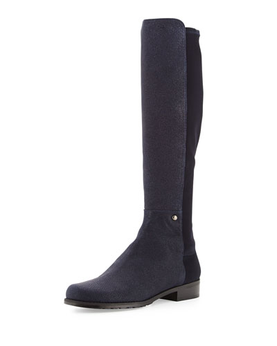 Stuart Weitzman Coast Mezzamezza Pindot Knee Boot, Nice Blue (Made to Order)