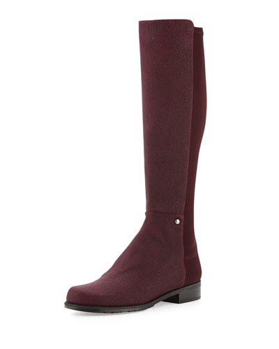 Stuart Weitzman Coast Mezzamezza Pindot Knee Boot, Bordeaux (Made to Order)
