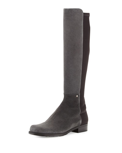 Stuart Weitzman Coast Mezzamezza Suede Knee Boot, Smoke (Made to Order)