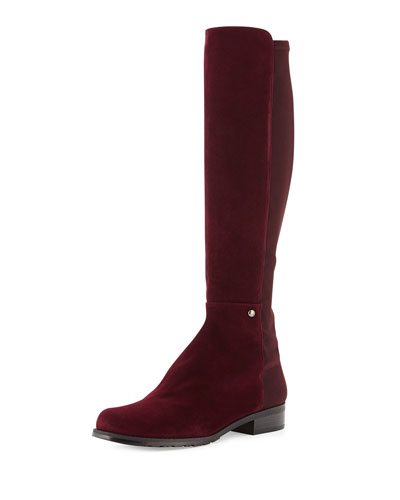Stuart Weitzman Coast Mezzamezza Suede Knee Boot, Bordeaux (Made to Order)