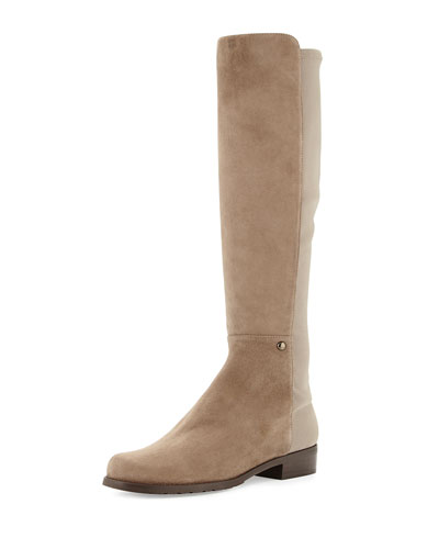 Stuart Weitzman Coast Mezzamezza Suede Knee Boot, Praline (Made to Order)