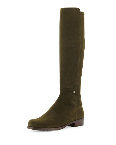 Stuart Weitzman Coast Mezzamezza Suede Knee Boot, Olive (Made to Order)