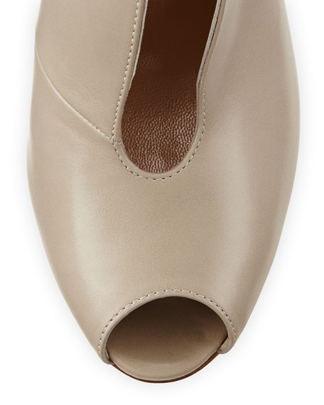 Leather V-Neck Peep-Toe Bootie, Dust
