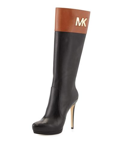 MICHAEL Michael Kors <MKFMGLOBALCOPY-mmk> Hayley Two-Tone Leather Boot