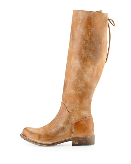 Manchester Rustic Leather Knee Boot, Tan