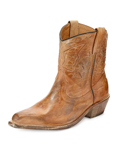 Filly Short Rustic Boot, Tan