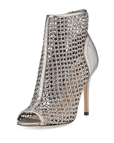 Aubriana Woven Cage Sandal, Pewter