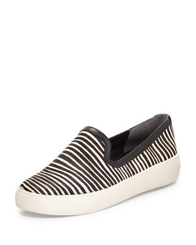 Becker Zebra-Print Calf Hair Slip-On